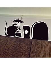 uksellingsuppliers ® Muisgat BANKSY RAT MET CASE Plint Muur Art Sticker Vinyl Decal 19cm x 7cm