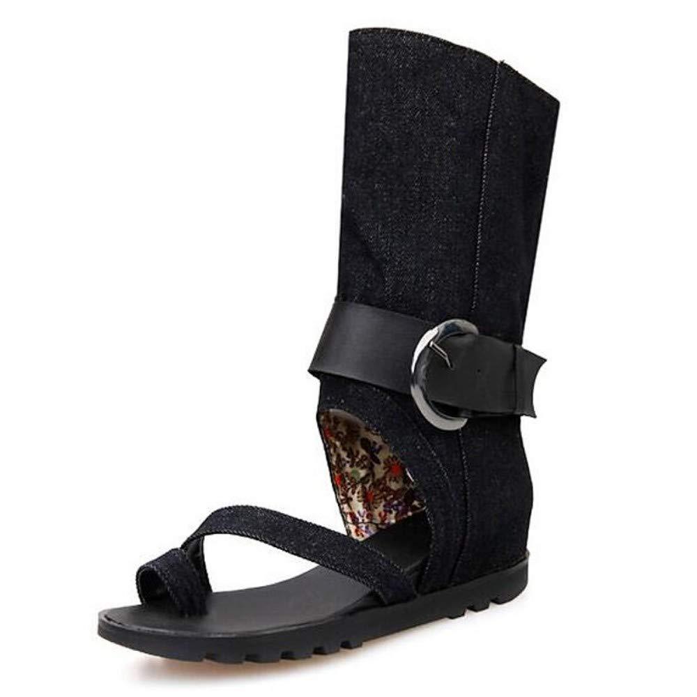 Sandales d'été en Toile pour Femmes, Talon Plat, Noir Bleu Bleu Clair noir 36.5 EU