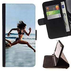 - TRIM BODY WOMAN BIKING BEACH RUNNING - - Prima caja de la PU billetera de cuero con ranuras para tarjetas, efectivo desmontable correa para l Funny HouseFOR Samsung Galaxy S4 IV I9500