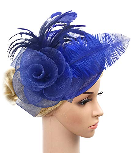 Z&X Sinamay Fascinator Headband Mesh Feather Flower Cocktail Pillbox Hat (Royal Blue)