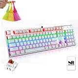 Normia Rita 104 Key Game Cherry MX Brown Mechanical Keyboard, Waterproof and Soot Dustproof Design, 104 All Keys Without Conflict, With Golden Touch Point Contact - White