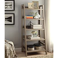 Tracey Five Shelf Ladder Bookcase - 60H Rustic Gray Laminate Dimensions: 25.55W X 17.99D X 60H Weight: 48 Lbs