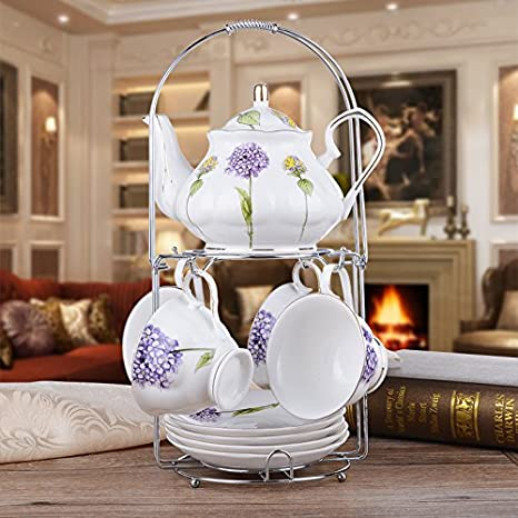 CLG-FLY Continental tea pot ceramic coffee cup set creative Cup upscale English-style afternoon tea coffee cup and saucer set,2