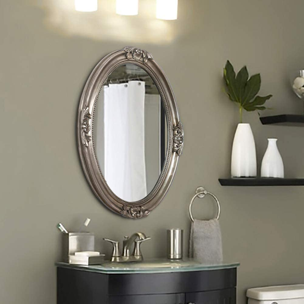 Amazon Com Rustic Silver Wall Mirror Oval Bathroom Mirror