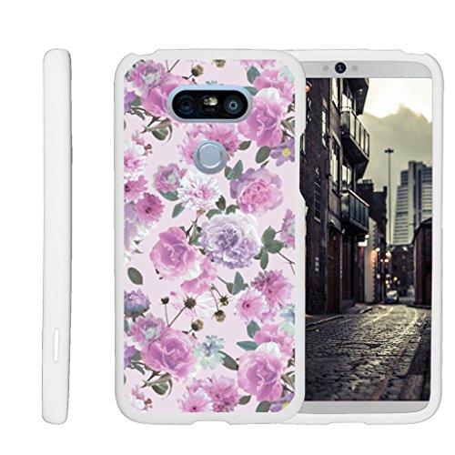 (MINITURTLE Case Compatible w/ [LG G5 Shell Case][Snap Shell] Hard White Plastic Case w/ Non Slip Coating Pink Purple Flower )