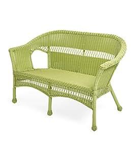 Fácil cuidado, mimbre de resina amor asiento, color verde