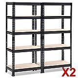 Topeakmart 2X59.1 Height Black Metal Storage Shelves,Boltless Adjustable Shelving Units for Garage,Kitchen,Office,330 lb Per Shelf
