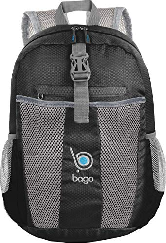 Bago 25L Packable Lightweight Backpack - Water Resistant Travel and Hiking Daypack - Foldable and Handy for Camping Outdoor Sports (Black) (Best Waterproof Daypack For Travel)