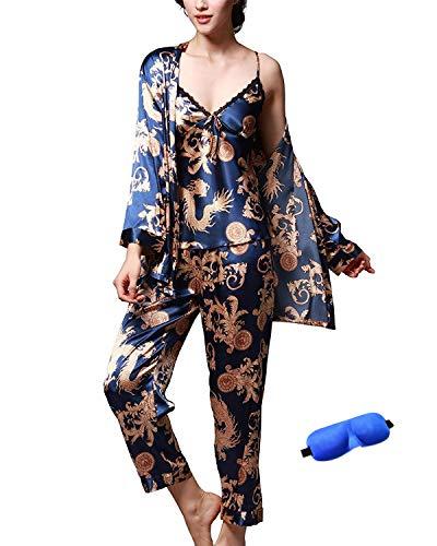 - IDORIC Women/Men Pajama Sets 3pcs Silk Sleepwear Sets Cami Nightwear PJS Set with Matching Eye Mask Gift
