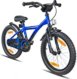 """PROMETHEUS Kids bike 18 inch Boys and Girls in Blue & Black with alloy kickstand 