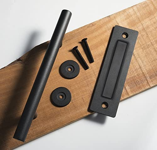 WBHome 12 Inches Pull and Flush Barn Door Handle Set in Black Sliding Barn Door Hardware with Mount Screws Included