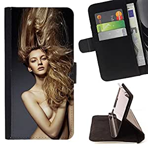 "For Samsung Galaxy E5 E500,S-type Rubio desnudo pelo Mujer"" - Dibujo PU billetera de cuero Funda Case Caso de la piel de la bolsa protectora"