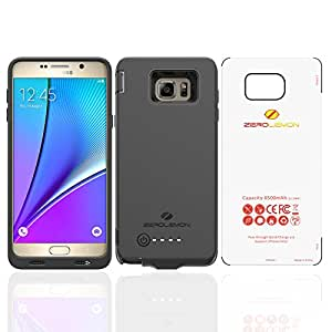 Galaxy Note 5 Battery Case, ZeroLemon Galaxy Note 5 8500mAh Extended Battery Case with Soft TPU Full Edge Protection (Compatible with All Note 5 Variants) [180 days ZeroLemon Warranty Guarantee]-Black