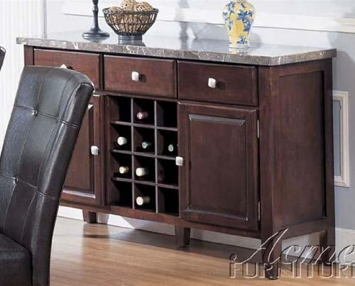 Marble Sideboard Drawer Top Buffet - Server Sideboard with Marble Top in Espresso Finish