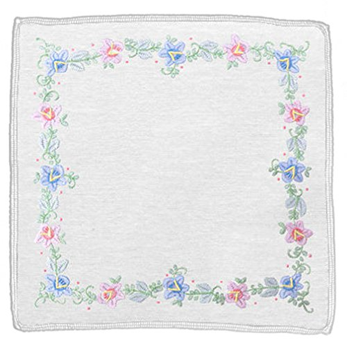 - Women's Handkerchief White Fine Cotton 13 X 13 Inch with Madeira Floral Embroidery (Pack of 2)