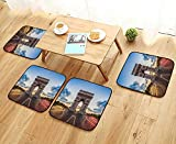 Luxurious Household Cushions Chairs Famous Champs Elysees Avenue Historical Monument French Culture Panorama Multicolor Soft and Comfortable W31.5 x L31.5/4PCS Set