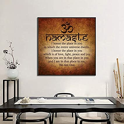 Gohipang Religious Indian Namaste Buddha Wall Art Picture Abstract Quotes Art Calligraphy Canvas Print Painting Bedroom Decoration Poster 50x50cm