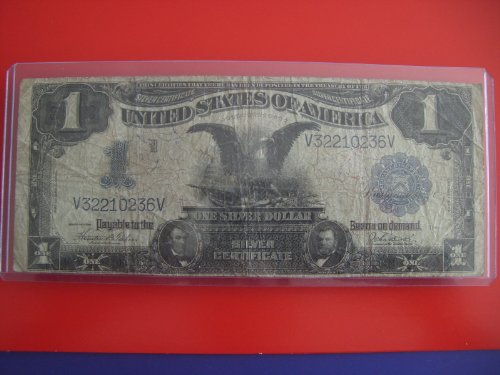 (1899 $1 Black Eagle Silver Certificate One Dollar Bill Note Blue Seal V32210236V)