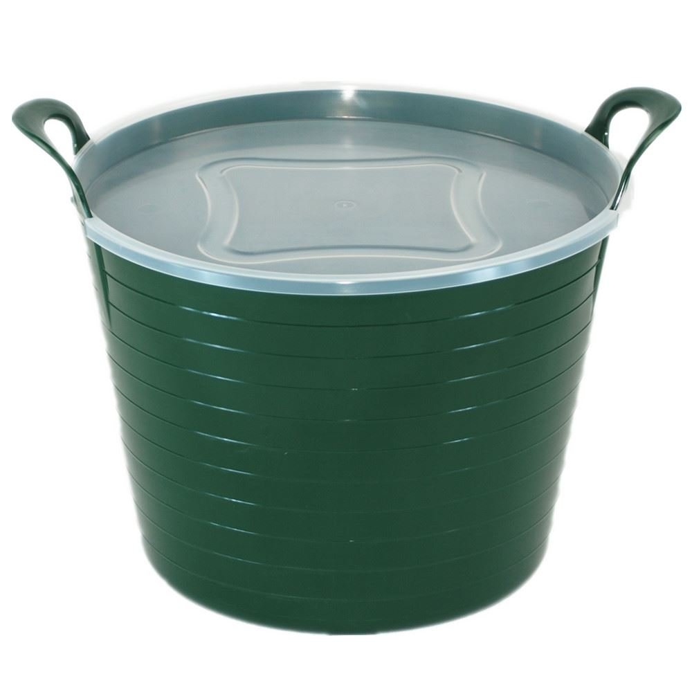 42L GREEN FLEXI TUB WITH LID, TRUG, FEEDING BUCKET, WATER BUCKET, GARDEN, FLEXIBLE KETO PLASTICS