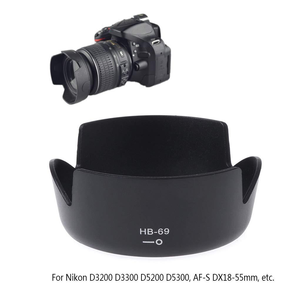 Parasol para c/ámara Nikon D3200 D3300 D5200 D5300 DX18-55 mm GuanjunLI HB-69
