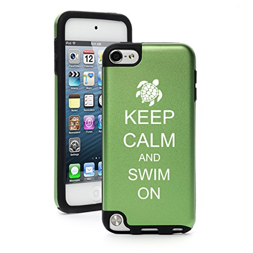 For Apple iPod Touch 5th / 6th Generation Aluminum & Silicone Hard Case Cover Keep Calm and Swim On Sea Turtle (Green)
