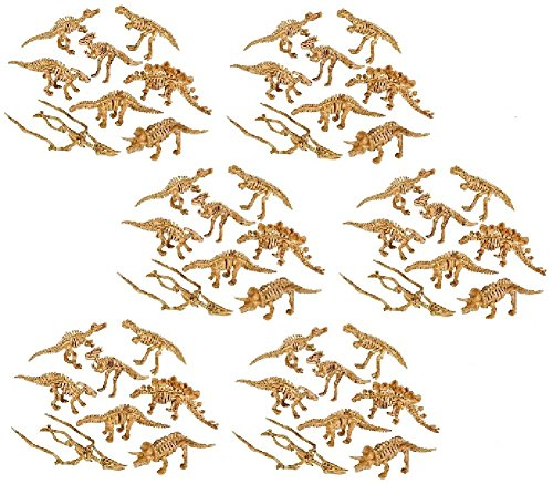 Novelty Treasures NT1295 Awesome 2 Inch Skeleton Dinosaur Figures Set of 48 School Activity and Dino Birthday Party Favor Goody Bag Toys