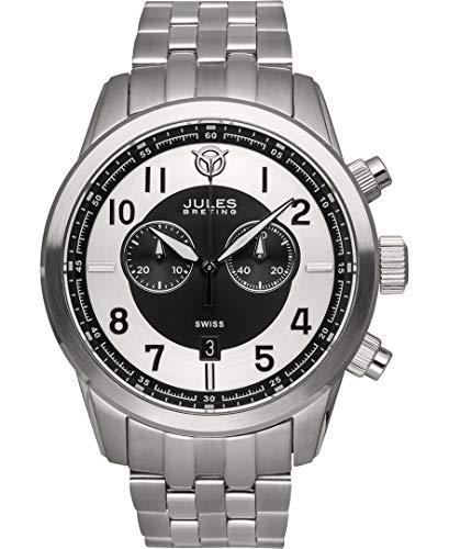 - Jules Breting Geidi Prime Mens Swiss Chronograph Watch - Silver Bracelet, Silver Case, White/Black Dial