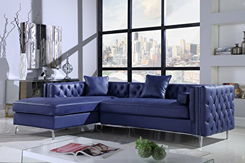 Iconic Home Da Vinci Left Hand Facing Sectional Sofa L Shape Chaise PU Leather Button Tufted with Silver Nailhead Trim Silvertone Metal Leg with 3 Accent Pillows, Modern Contemporary, Navy - Tufted Leather Contemporary Sofa