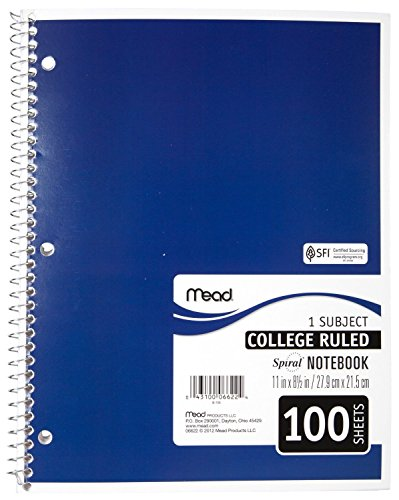 043100066224 - Mead Spiral Notebook, College Ruled, 1 Subject, 8.5 x 11, 100 Sheets, Assorted Colors (06622) carousel main 5