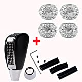 bling automatic gear shift knob - Anzio Bling Bling Crystal Diamond Rhinestone Shift Knob & Headrest Collars Manual Automatic BUTTON-LESS Operated Shifter Fit Car Truck SUV