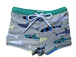SwimZip¨ Little Boy Euro Short Swim Trunk Swimsuit Bottoms UPF 50+ Gray Shark 4T