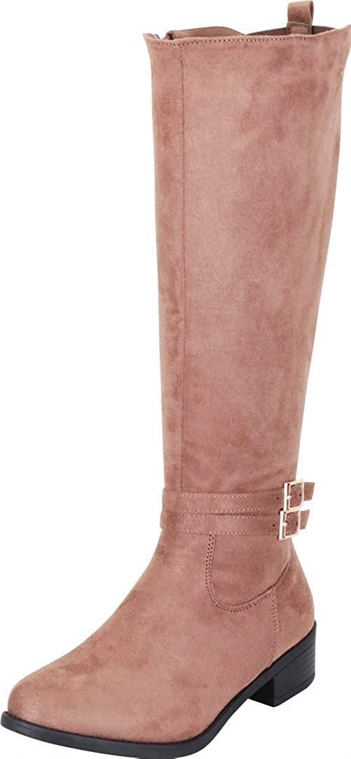 Taupe Imsu Cambridge Select Women's Strappy Buckle Low Heel Knee-High Riding Boot