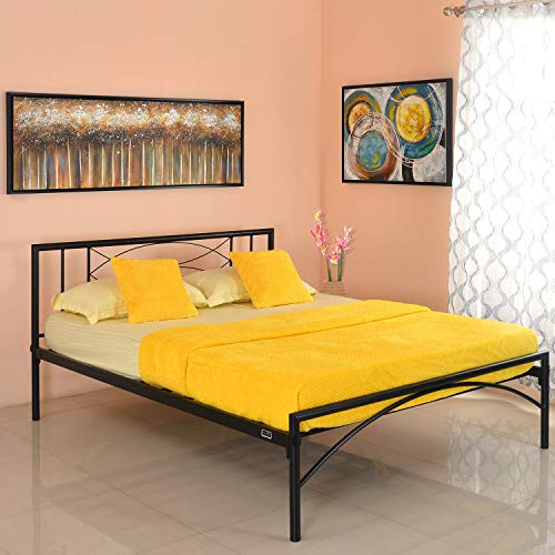 @home by Nilkamal Ursa Queen Size Metal Bed (Iron – Black)