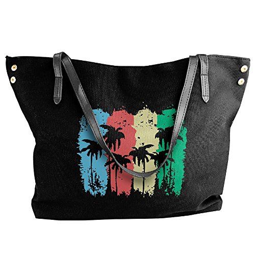 Capacity Shoulder Canvas Tote Tree Women's Bags Large Palm Large Handbag Black AqFwCO