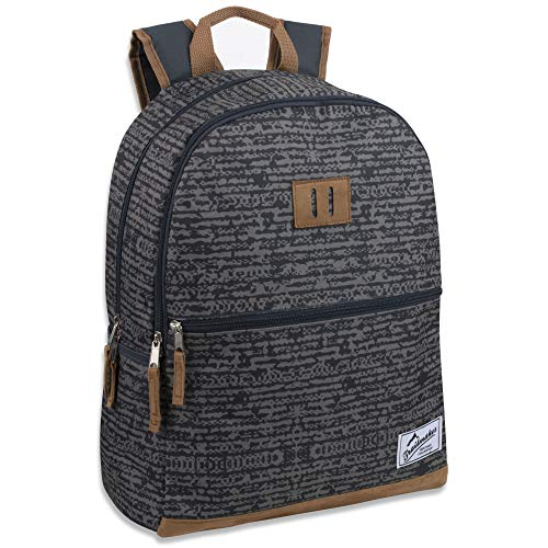 Trailmaker Modern Backpack for Boys and Men with Padded Straps, Suede Bottom for School, Travel (Gray)