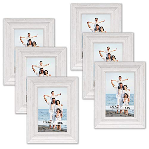 (LaVie Home 4x6 Picture Frames (6 Pack, White Wood Grain) Rustic Photo Frame Set with High Definition Glass for Wall Mount & Table Top Display)