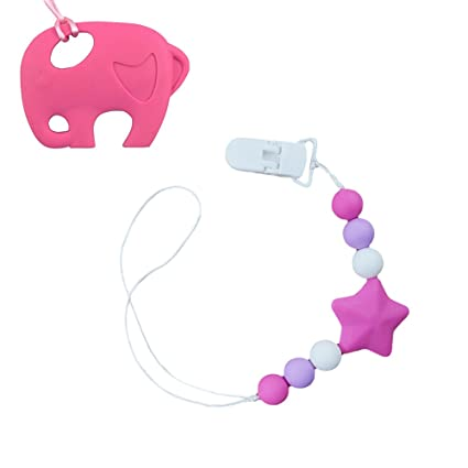 INCHANT silicona para bebés y Teether Chupete Clips set, sin BPA de ...