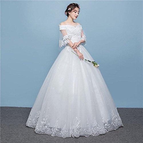 coreano Abito semplice spalla e da sposa da sposa LJF abito bianca di grandi stile dimensioni primavera sposa sposa estate YIpqwFxdv