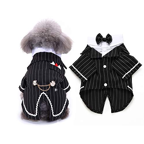 FLAdorepet Gentleman Dog Shirt Puppy Pet Small Dog Clothes,Pet Suit Bow Tie Costume, Cat Wedding Shirt Formal Tuxedo with Black Tie, Dog Prince Wedding Bow Tie Suit (M, Black) -