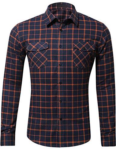 DOKKIA Men's Dress Buffalo Plaid Checkered Fitted Long Sleeve Flannel Shirts (Navy Blue Orange Buffalo, - Flannel Long Sleeve