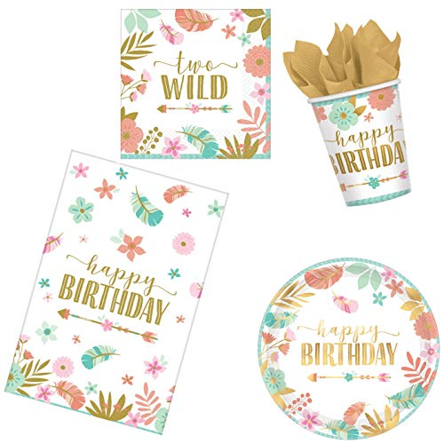 BOHO 2nd Birthday Party Supplies Pack for 16 Guests | Baby Girl Two Wild Theme (Basic ParteePak)