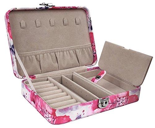 Vaultz VZ03802 Locking Jewelry Box Case, Jewelry Organizer with Key Lock, 5 x 2 x 7 Inches, Floral