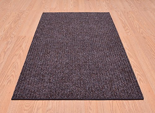 Tough Collection Roll Runner Grey Brown Blue 27 in or 36 in Wide x Your Custom Length Choice Slip Resistant Rubber Back Area Rugs and Runners (Brown, 27 in x 14 ft)