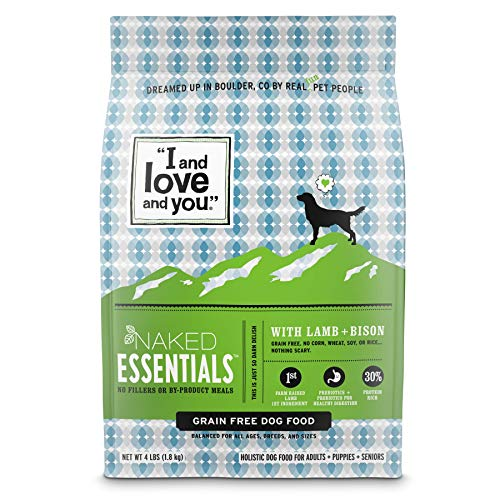 'I and love and you' Naked Essentials Dry Dog Food - Natural Grain Free Kibble, Lamb + Bison, 4-Pound Bag (Trial Size)