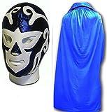 WRESTLING MASKS UK Men's Huracan Ramirez Luchador Wrestling Mask With Cape One Size Blue