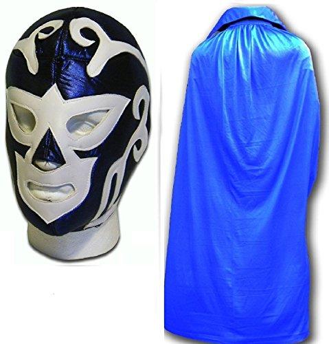 WRESTLING MASKS UK Men's Huracan Ramirez Luchador Wrestling Mask With Cape One Size Blue by Wrestling