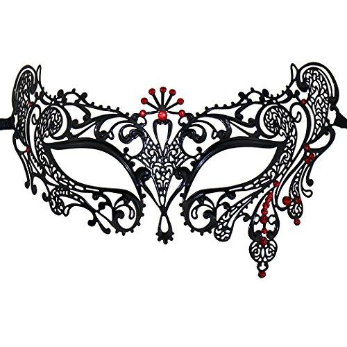Pretty Woman Red Opera Dress Costume (Opera Laser Cut Masquerade Mask Half Face Mask Silver Crystal Decor Venetian Mask)