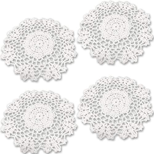 Rusoji Handmade Round Decorative Crochet Cotton Lace Floral Table Placemats Coasters Doilies, Pack of 4, White, 7 inch ()