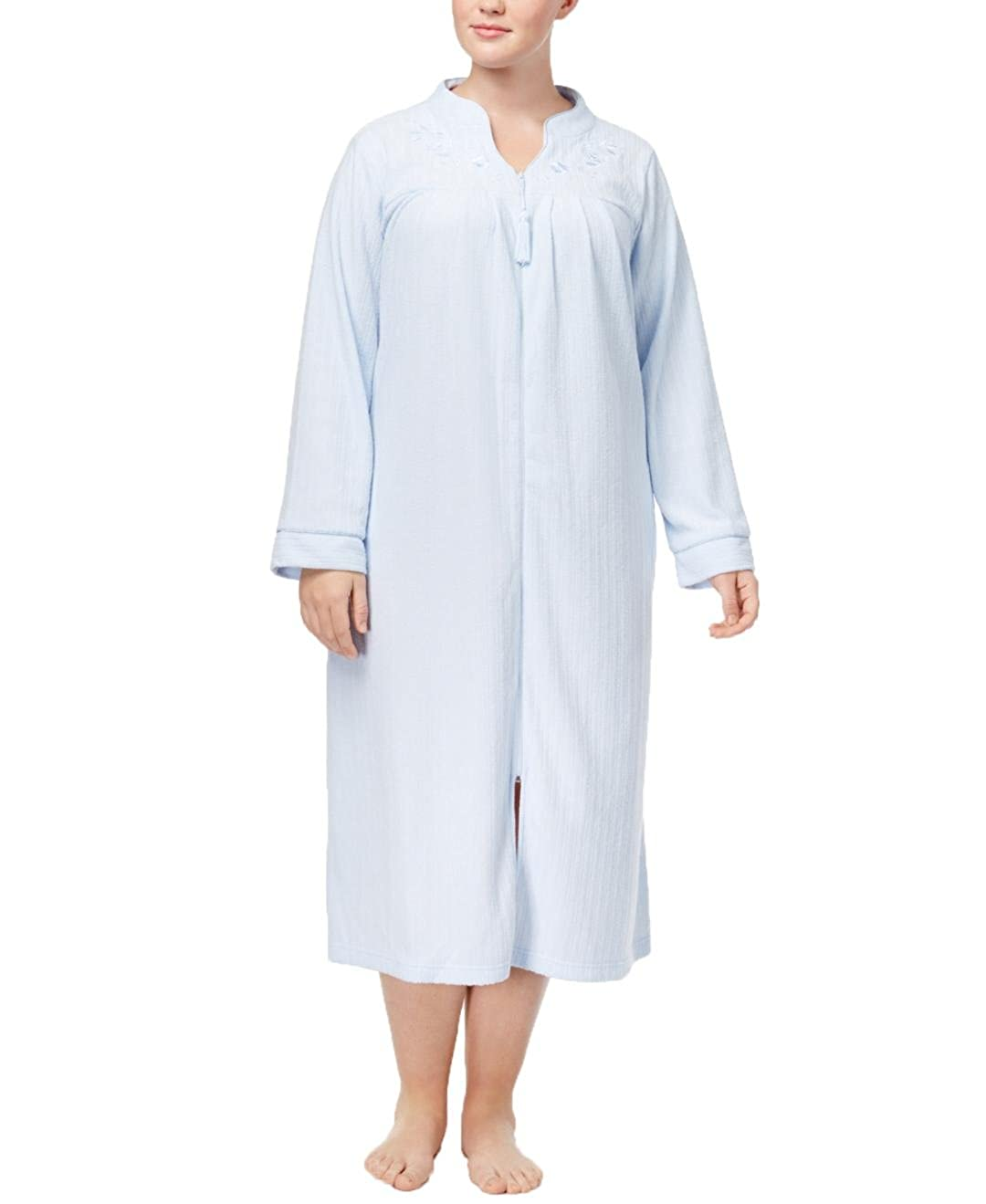 e1f1c7ff7a Miss Elaine Womens Plus Size Brushed Back Terry Long Zipper Robe 861006X