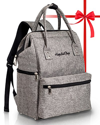 Baby Diaper Bag Backpack Organizer – Multi-Function Designer – Wide Open Tote Bag for Mom Dad Boys & Girls – Insulated Pocket for Bottle Storage – Changing Pad – Waterproof – Gray